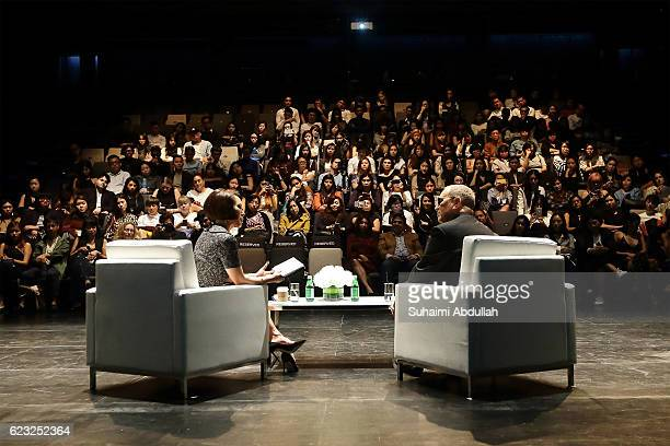 American designer Michael Kors speaks with Alina Cho during the In Conversation with Michael Kors and Alina Cho at School of the Arts Singapore on...