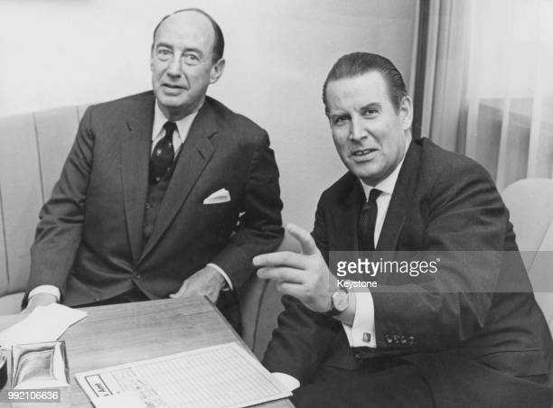 American diplomat Adlai Stevenson II the US Ambassador to the United Nations meets German Foreign Minister Gerhard Schröder for talks in Bonn Germany...