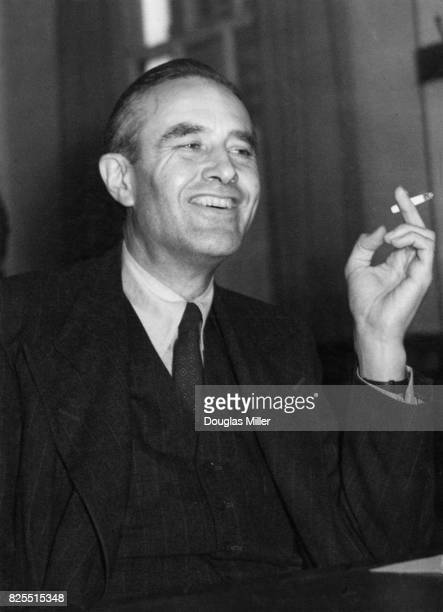 American diplomat W Averell Harriman the United States ambassador to the United Kingdom holds a press conference at the American embassy in London to...