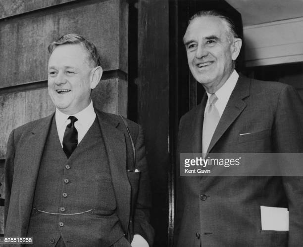 American diplomat W Averell Harriman the US UnderSecretary of State is welcomed by Science Minister Lord Hailsham at the Ministry of Science on...