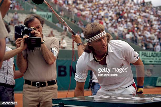 American director and photographer William Klein and Swedish tennis player Bjorn Borg during the Roland Garros French Open