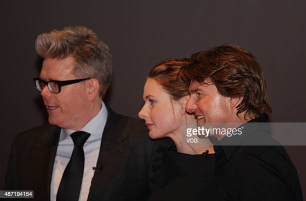 American director Christopher McQuarrie actor Tom Cruise and Swedish actress Rebecca Ferguson attend the premiere of Christopher McQuarrie's film...