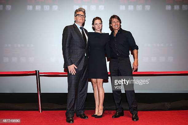 American director Christopher McQuarrie actor Tom Cruise and Swedish actress Rebecca Ferguson attend 'Mission Impossible Rogue Nation' premiere on...