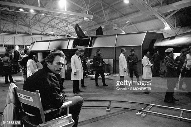 American director Clint Eastwood on the set of his movie 'Firefox' which he also acts in