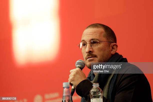 American director Darren Aronofsky attends the official press conference for 'mother' during the Busan International Film Festival on October 13 2017...