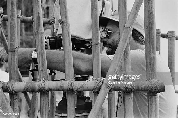 American director Francis Ford Coppola on the set of the his movie Apocalypse Now based on Joseph Conrad's novel Heart of Darkness