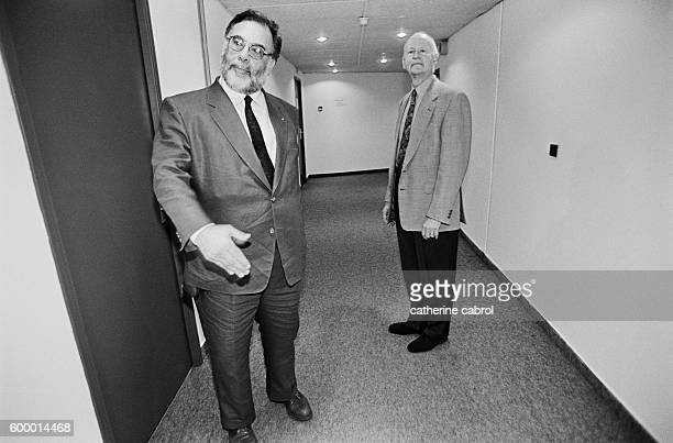 American director Francis Ford Coppola, president of the jury for the 1996 Cannes Film Festival, and Gilles Jacob.