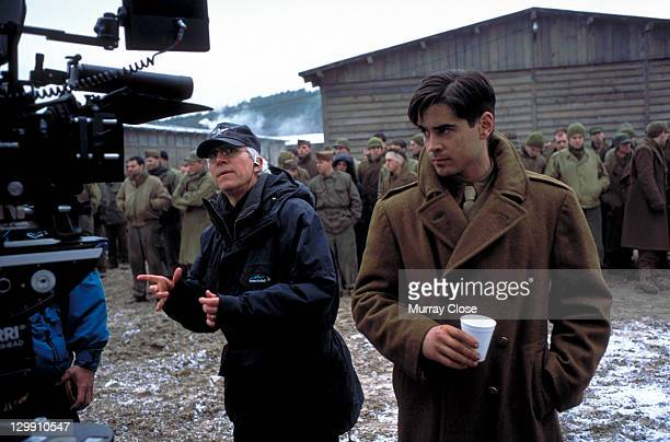 American director Gregory Hoblit with Irish actor Colin Farrell on the set of the film 'Hart's War', in the Czech Republic, 2002.