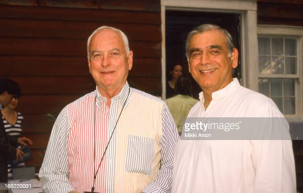 American director James Ivory and Indianborn producer Ismail Merchant in front of the Red Barn in Claverack New York 8th May 1998 The barn is on the...