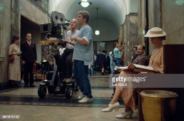 American director James Ivory on the set of his film Mr Mrs Bridge