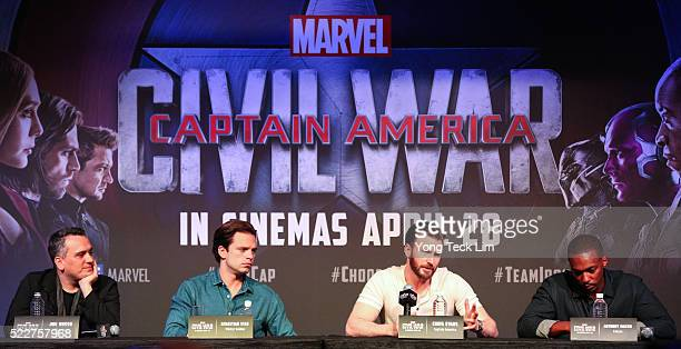 American director Joe Russo Romanian American actor Sebastian Stan and American actors Chris Evans and Anthony Mackie attend the Southeast Asia press...