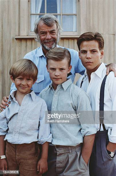 American director John G Avildsen with the three actors who portray the protagonist PK at different ages in the film 'The Power of One' 1992 From...