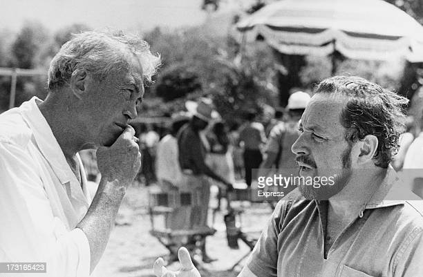 American director John Huston with playwright Tennessee Williams on location during filming of in 'The Night of the Iguana' in Puerto Vallarta,...