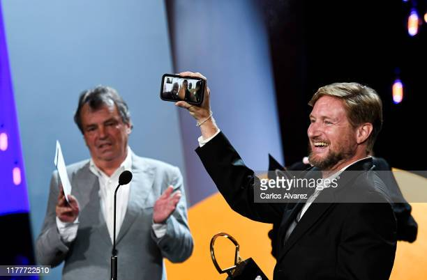 American director Paxton Winters receives the Concha de Oro best film award during the ceremony on the closure day of 67th San Sebastian...