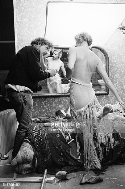 American director Philip Kaufman directing French actress Brigitte Lahaie on the set of his film 'Henry June' based on French writer Anais Nin's...