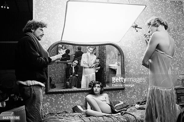American director Philip Kaufman directing French actress Brigitte Lahaie and Maïte Maille on the set of his film 'Henry June' based on French writer...