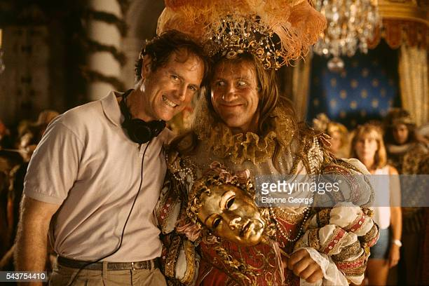 "American director Randall Wallace and French actor Gerard Depardieu on the film set of Wallace's ""The Man in the Iron Mask"", based on the novels..."
