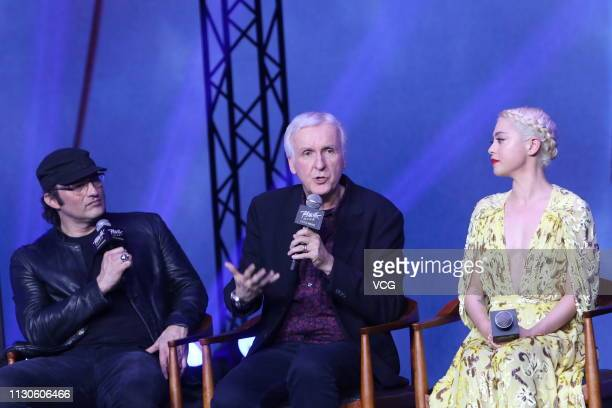 American director Robert Rodriguez Canadian filmmaker James Cameron and American actress Rosa Salazar attend the press conference of film 'Alita...