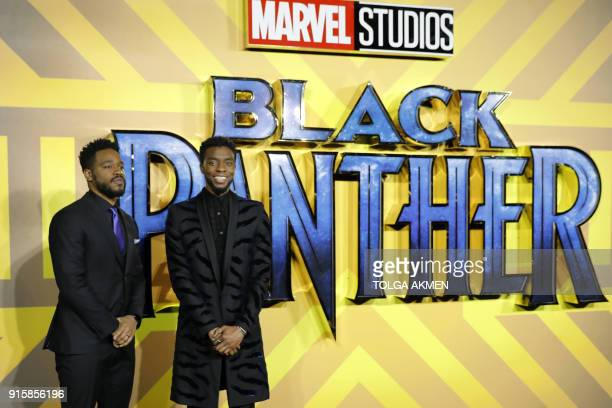 American director Ryan Coogler and American actor Chadwick Boseman pose on arrival for the European Premiere of 'Black Panther' in central London on...