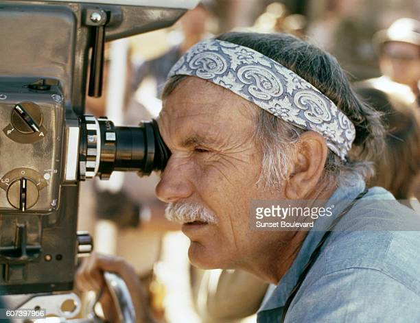 American director Sam Peckinpah on the set of his movie The Ballad of Cable Hogue