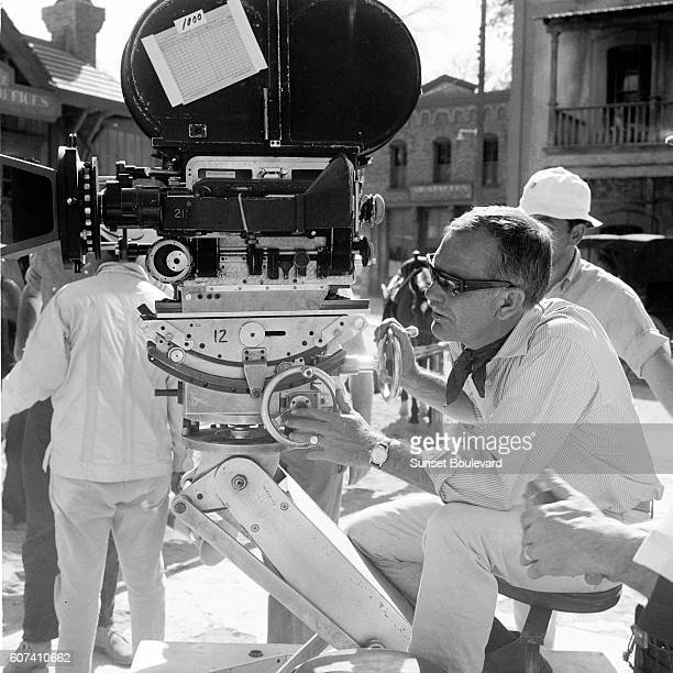 American director Sam Peckinpah on the set of his movie The Wild Bunch
