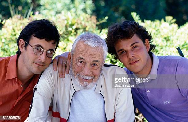 American director, screenwriter and actor John Huston and his sons Walter Antony 'Tony' Huston (left - he had with Enrica Soma), and Danny Huston (right - he had with author Zoe Sallis).