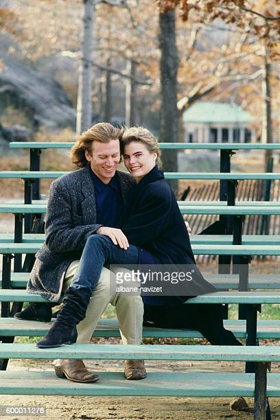 American director, screenwriter and producer Stephen Crisman and his wife actress Mariel Hemingway in Central Park.