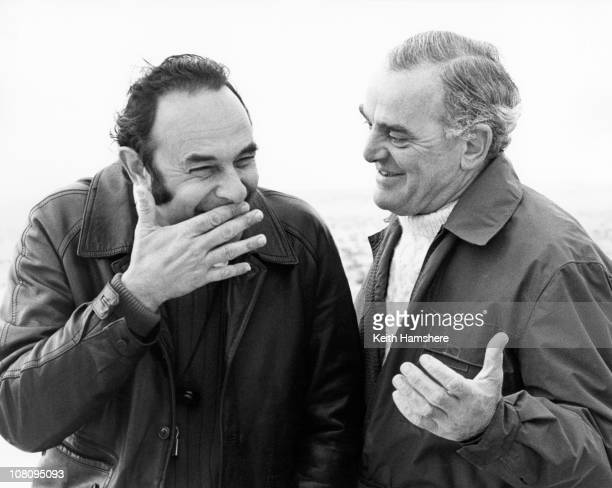 American director Stanley Donen shares a joke with cinematographer Christopher Challis during the filming of 'The Little Prince' in Tunisia 1974