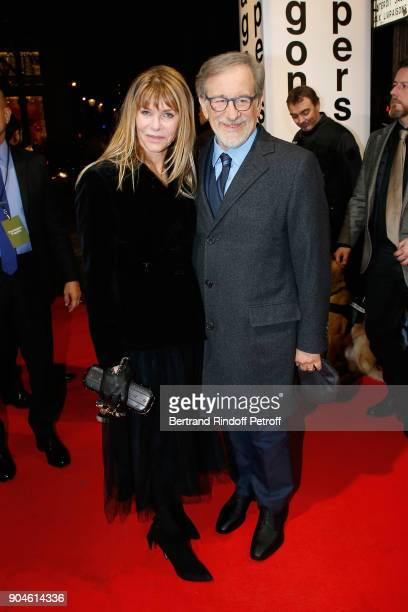 American Director Steven Spielberg and Kate Capshaw attend the 'Pentagon Papers' Paris Premiere with his wife Kate Capshaw at Cinema UGC Normandie on...