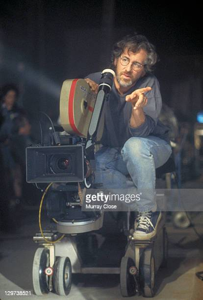 American director Steven Spielberg films a scene for the film 'Jurassic Park' 1993