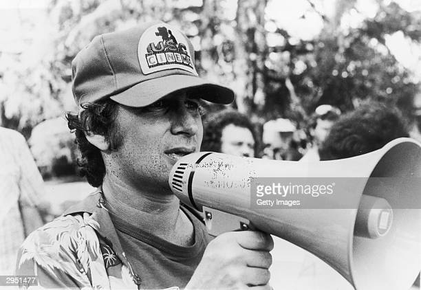 American director Steven Spielberg holds a megaphone while directing his film 'ET The ExtraTerrestrial' 1982
