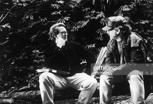 American director Steven Spielberg speaks with assistant director David Koepp on the set of Spielberg's film 'The Lost World Jurassic Park' 1997