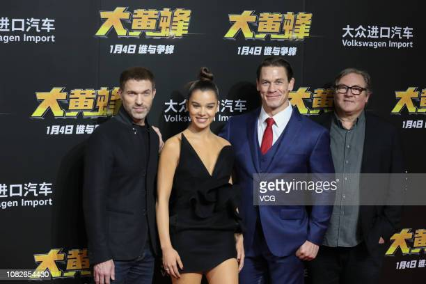 American director Travis Knight, American actress/singer Hailee Steinfeld, American actor/wrestler John Cena and American film producer Lorenzo di...