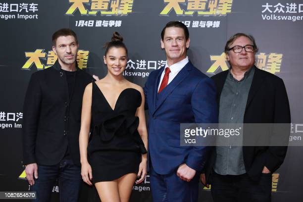 American director Travis Knight American actress/singer Hailee Steinfeld American actor/wrestler John Cena and American film producer Lorenzo di...