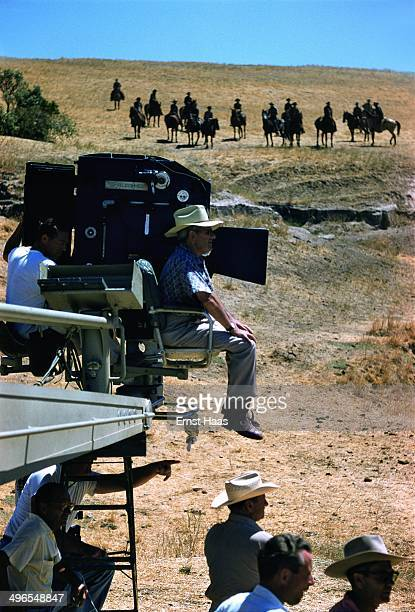 American director William Wyler on the set of his western 'The Big Country' USA 1958