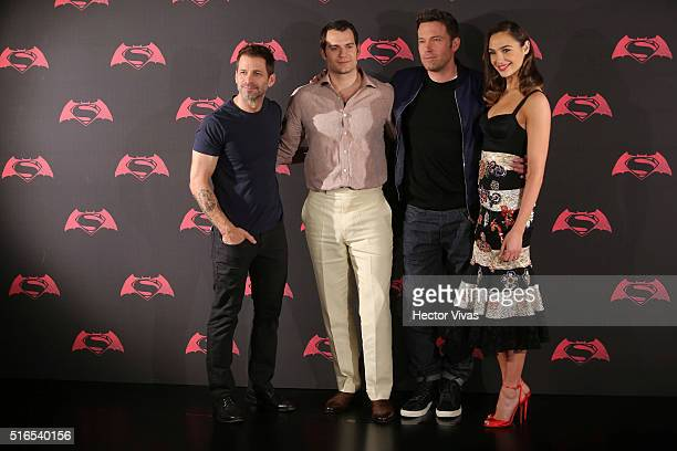 American director Zach Snyder British actor Henry Cavill American actor Ben Affleck and Israeli actress Gal Gadot pose for pictures during the Batman...