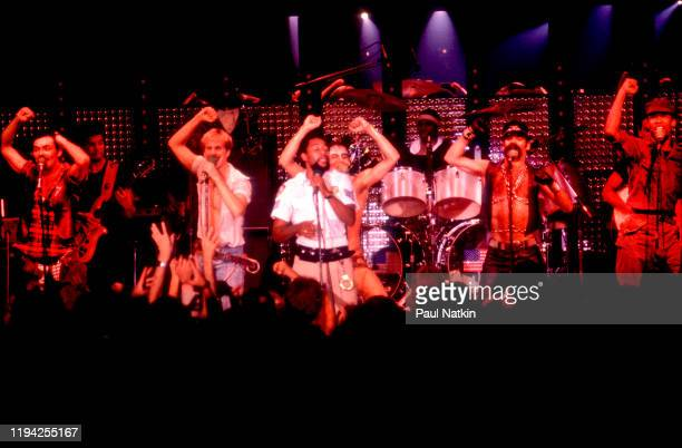 American Disco group the Village People perform onstage at the Park West Chicago Illinois May 19 1978 Pictured are from left Randy Jones David Hodo...