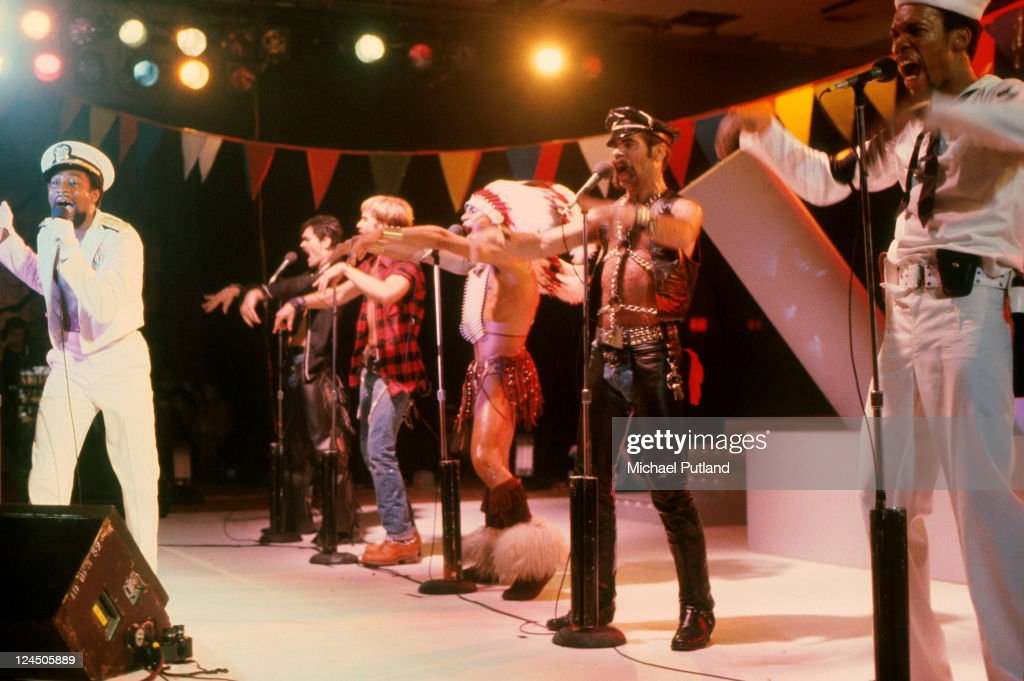 American disco group Village People performing in Florida, March 1979. Left to right: Victor Willis, Randy Jones, David Hodo, Felipe Rose, Glenn Hughes (1950 - 2001) and Alex Briley.