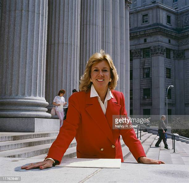 American District Attorneyturned author Linda Fairstein outside the United States Courthouse in Manhattan New York City circa 1990