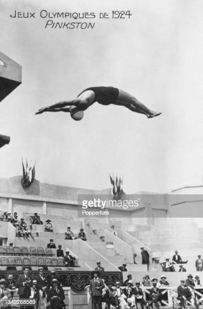American diver Clarence Pinkston competes in the men's 10 metre platform event of the 1924 Summer Olympics, held at the Piscine des Tourelles in...