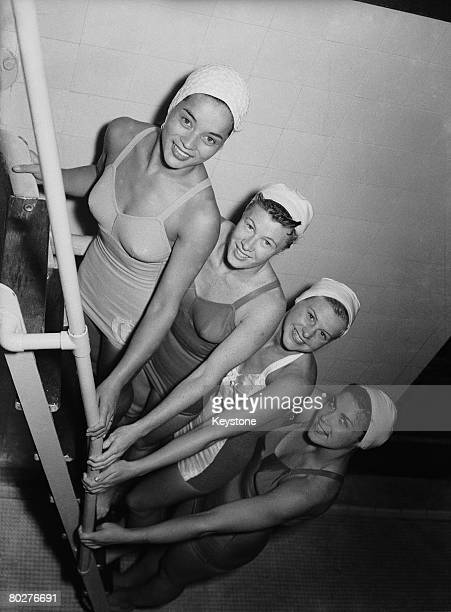 American divers in training for the 1948 London Olympics at Epsom baths Surrey 21st July 1948 Left to right Vickie Draves Juno StoverIrwin Zoe...