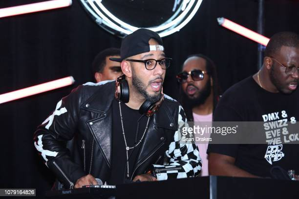 American DJ and art collector Swizz Beatz performs at the Bacardi No Commission Marquee Performance hosted by The Dean Collection at Faena Forum as...