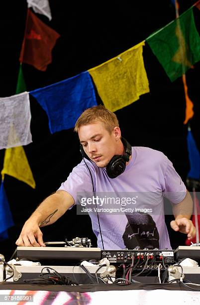 American DJ Diplo performs on turntables at Central Park SummerStage New York New York August 7 2005