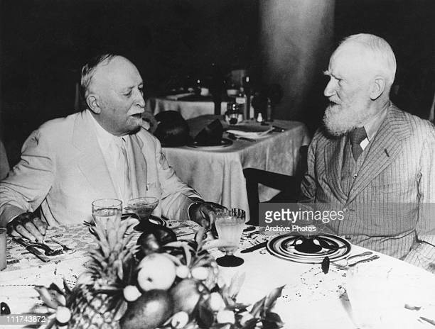American doctor John Harvey Kellogg in conversation with Irish writer George Bernard Shaw Miami 7th February 1936 Kellogg is expounding on the...