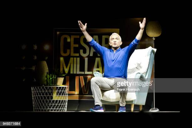 American dog trainer Cesar Millan performs live during his show at the MercedesBenz Arena on April 19 2018 in Berlin Germany