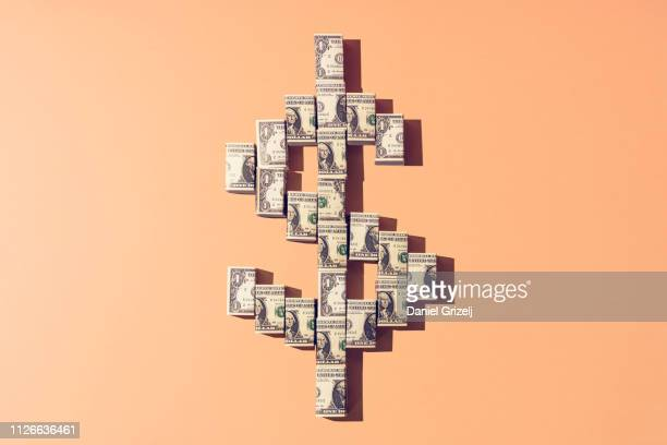 american dollar currency symbol - one dollar bill stock pictures, royalty-free photos & images