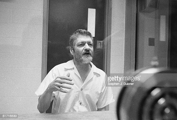 **EXCLUSIVE** American domestic terrorist luddite and mathematics teacher Ted Kaczynski gestures as he speaks during an interview in a visiting room...