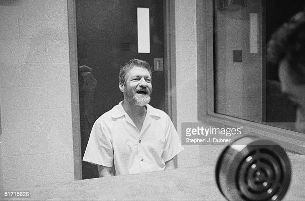 **EXCLUSIVE** American domestic terrorist luddite and mathematics teacher Ted Kaczynski smiles as he speaks during an interview in a visiting room at...