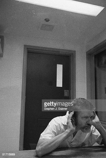**EXCLUSIVE** American domestic terrorist luddite and mathematics teacher Ted Kaczynski cups both his hands to his ears and listens during an...