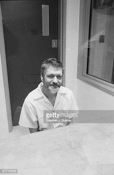 **EXCLUSIVE** American domestic terrorist luddite and mathematics teacher Ted Kaczynski sits and smiles during an interview in a visiting room at the...